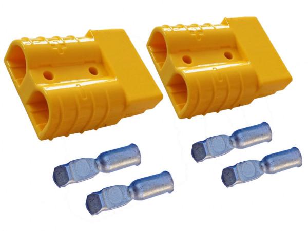 Batterie Stecker 50A 10 mm2 gelb Set Steckverbinder für Gabelstapler Kabel