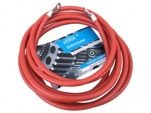 Batteriekabel 10 mm² 200cm Kupfer Stromkabel mit Ringösen M8 rot 12V KFZ Kabel