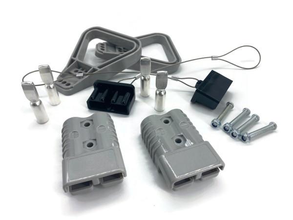 Batterie Stecker 175A 35 mm2 grau Vollset Steckverbinder für Gabelstapler Kabel