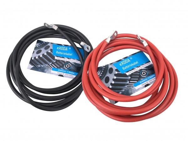 Batteriekabel Set 50 mm² 200cm Kupfer Stromkabel mit Ringösen M8 rot und schwarz