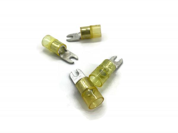 Gabelkabelschuh 16mm2 bis 25mm2 M5 isoliert 4x Ringöse Pressöse Quetschkabelschuhe gelb