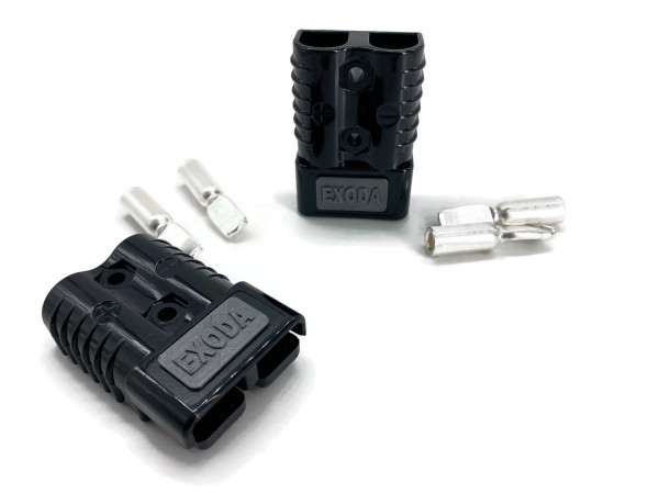 Batterie Stecker 50A 16 mm2 schwarz Set Steckverbinder für Gabelstapler Kabel