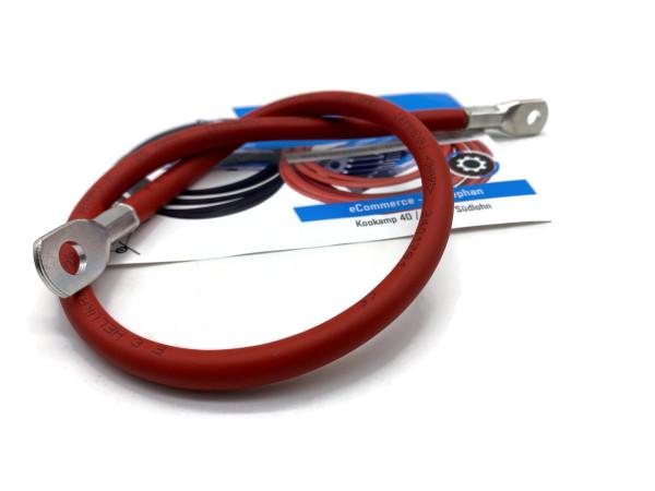 Batteriekabel 25 mm² 50cm Kupfer Stromkabel Ringösen M6 und M8 Rot 12V KFZ