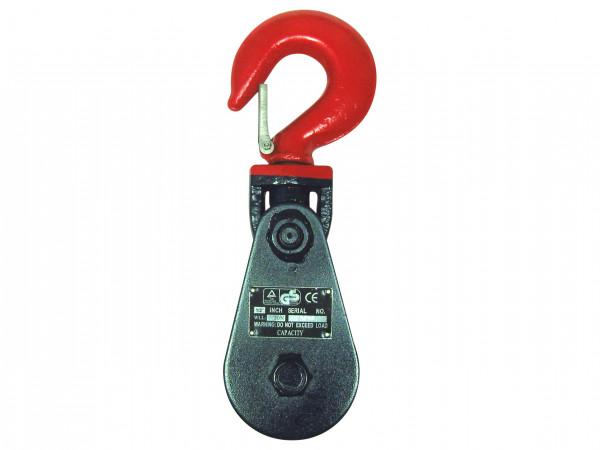 eXODA Umlenkrolle 115mm Klappblock bis 12mm Seildurchmesser mit Haken WLL 4t Seilrolle