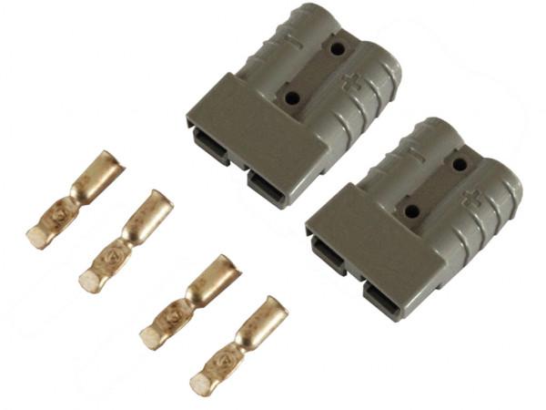Batterie Stecker 50A 16 mm2 grau Set Steckverbinder für Gabelstapler Kabel