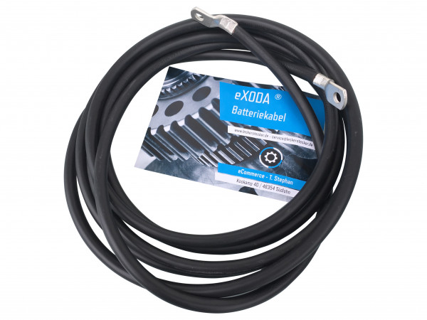 Batteriekabel 35 mm² 200cm Kupfer Stromkabel mit Ringösen M10 schwarz 12V KFZ