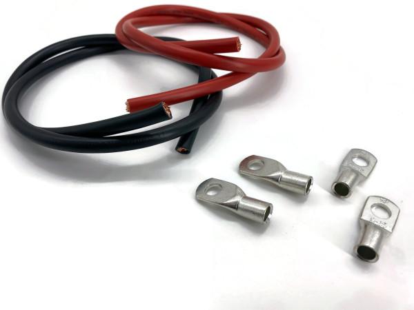 Kabelschuh 35mm2 M10 4x Ringöse mit jeweils 1m Kabel rot und schwarz