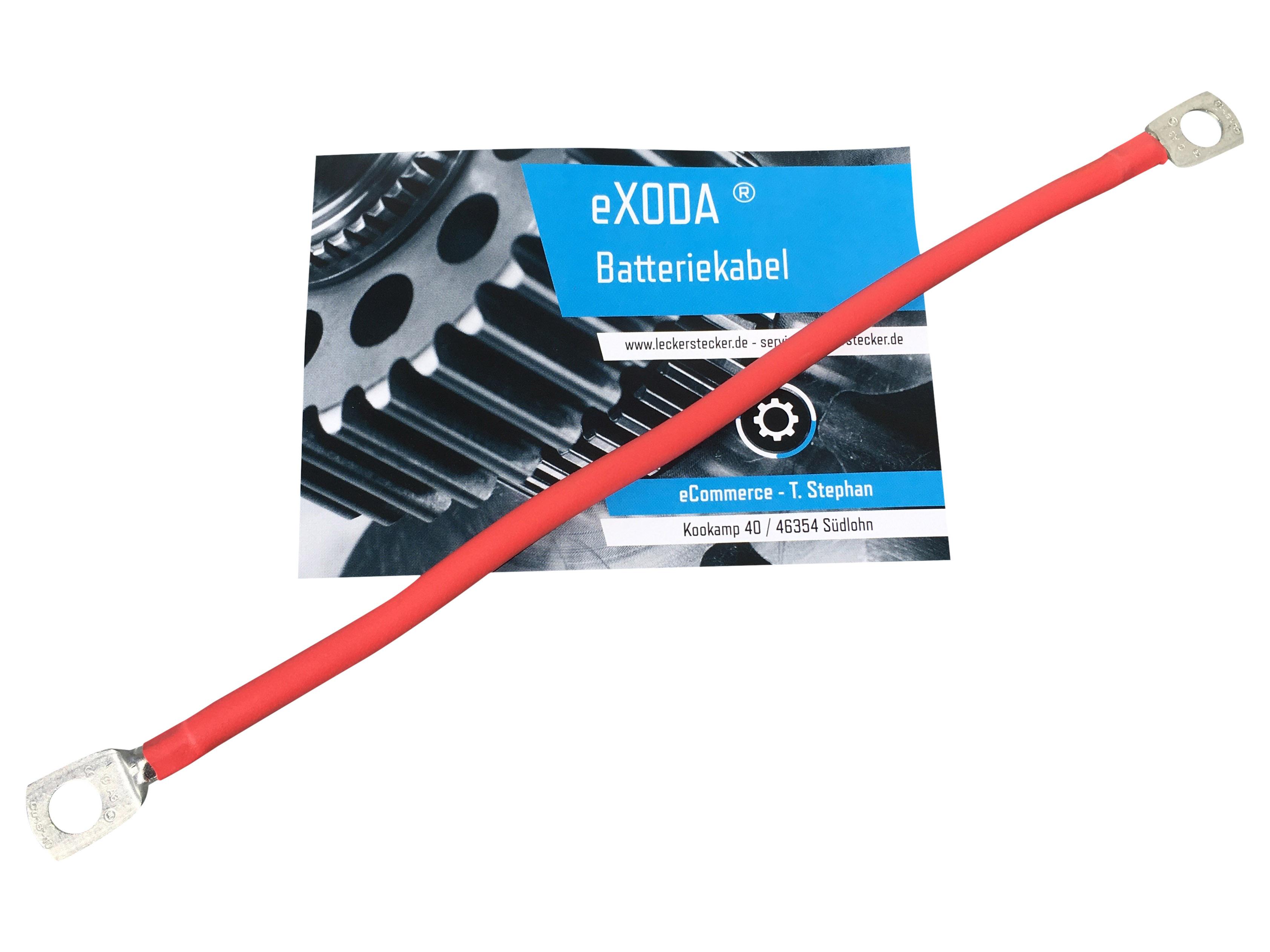 Batteriekabel 16 mm2 50cm mit Ringösen M6 rot Auto KFZ Ladegerät Kabel von eXODA