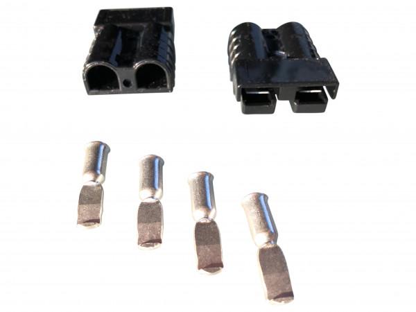 Batterie Stecker 50A 10 mm2 schwarz Set Steckverbinder für Gabelstapler Kabel