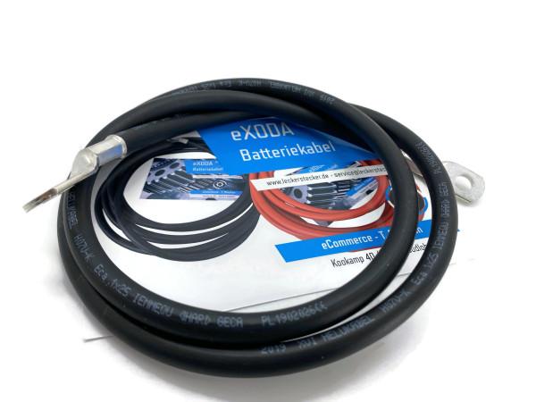 Batteriekabel 25 mm² 100cm Kupfer Stromkabel Ringösen M8 und M10 schwarz  KFZ