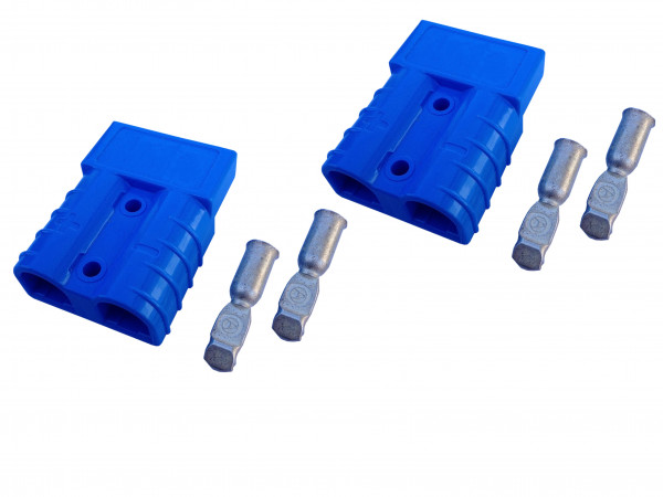 Batterie Stecker 50A 10 mm2 blau Set Steckverbinder für Gabelstapler Kabel