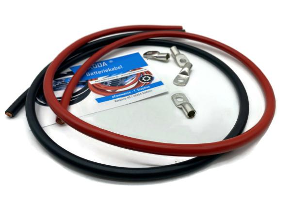 Batteriekabel 25mm2 4x M8 Kabelschuh jeweils 1m Kabel rot und schwarz