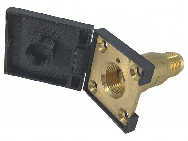 LPG Autogas Tankdeckel viereckig für HK Platte schwarz M22 mit Scharnier