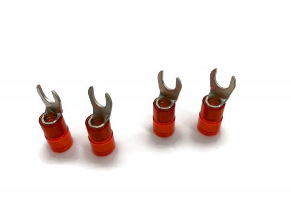 Gabelkabelschuh 6mm2 bis 10mm2 M10 isoliert 4x Ringöse Pressöse Quetschkabelschuhe rot