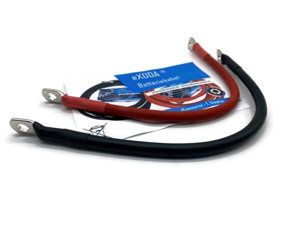 Batteriekabel Set 25 mm² 30cm mit Schrumpfschlauch und Ringösen M8 Rot und Schwarz