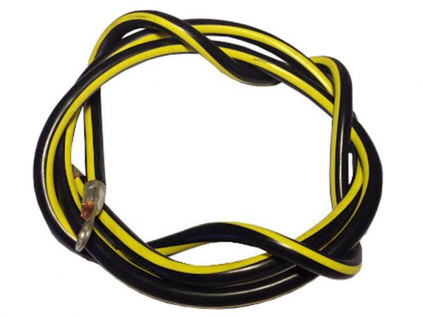 Batteriekabel 14 mm² 60cm Kupfer Stromkabel mit Ringösen M10 gelb schwarz  KFZ