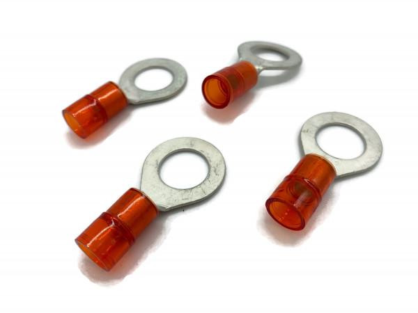 Kabelschuh 6 bis 10mm2 M10 isoliert 4x Ringöse Pressöse Quetschkabelschuhe rot
