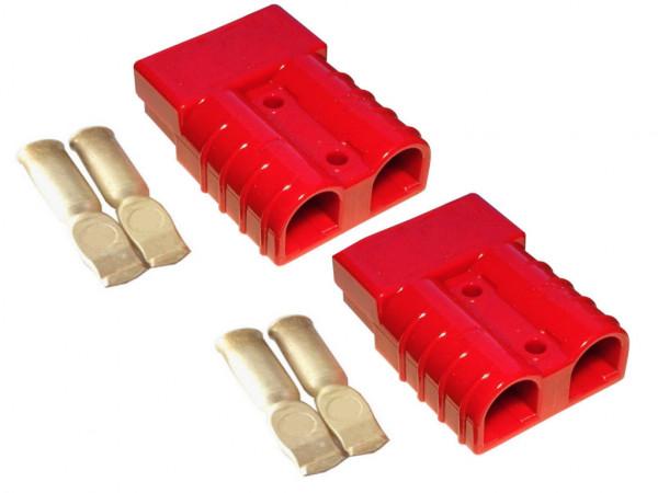 Batterie Stecker 50A 10 mm2 rot Set Steckverbinder für Gabelstapler Kabel