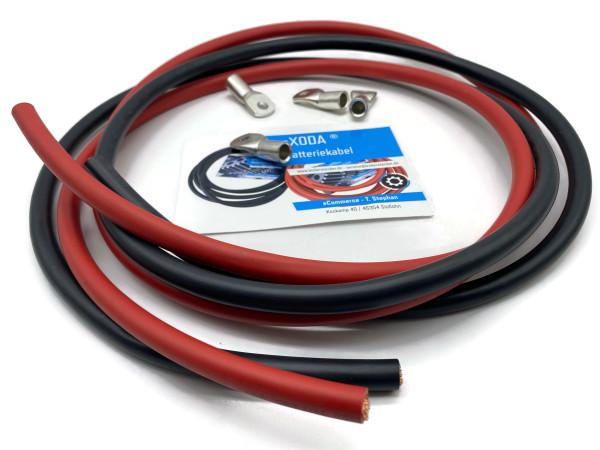 Batteriekabel 50mm2 4x M8 Kabelschuh jeweils 2m Kabel rot und schwarz