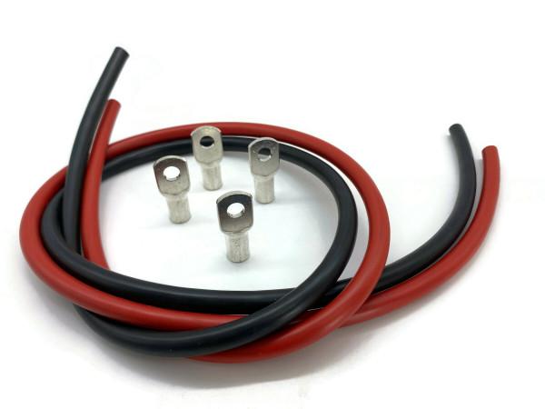 Kabelschuh 35mm2 M8 4x Ringöse mit jeweils 1m Kabel rot und schwarz